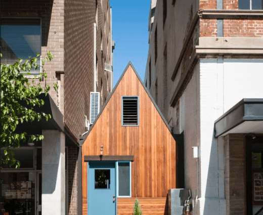 tiny house between buildings