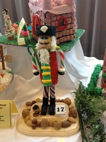 Lawrence residents Jena Dick and Emily Baker constructed Nutcracker Nick out of a potato, lasagna noodles, rice cakes and other materials. This is the fourth year Dick has made a gingerbread figurine for Big Brothers Big Sisters.