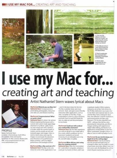 nathaniel stern: MacFormat Magazine