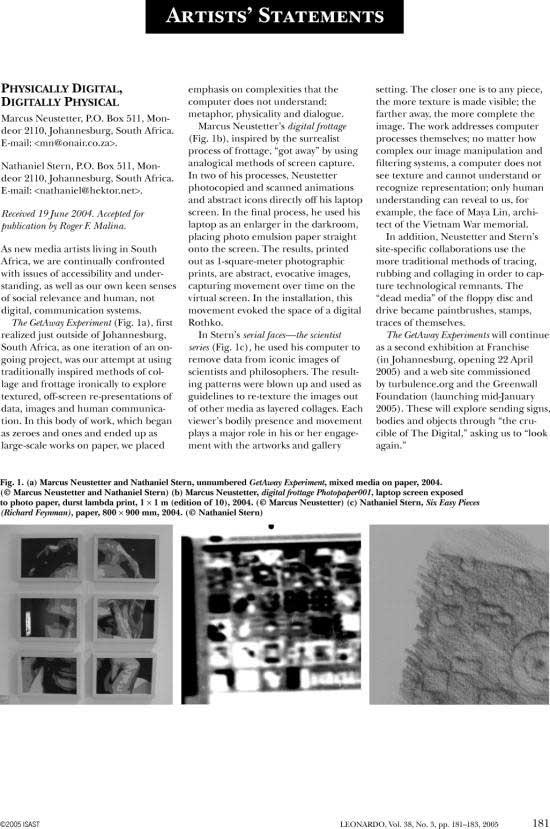 nathaniel stern and marcus neustetter in Leonardo, Volume 38 Number 3