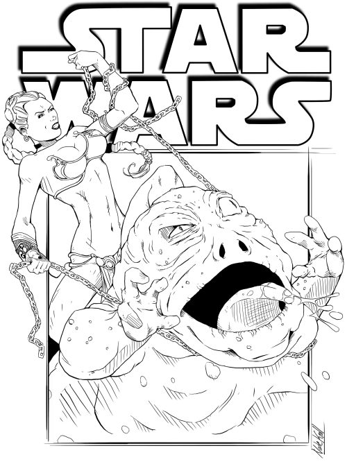 Princess Leia strangling Jabba The Hutt.