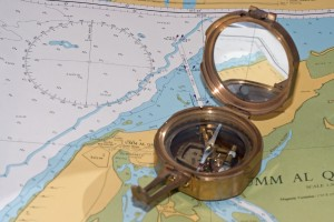 Photograph of map and compass.