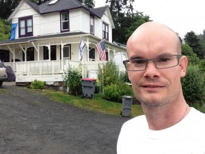 Photograph of Nathan Pierce at Goonies House, Astoria, Oregon, on June 27, 2013.