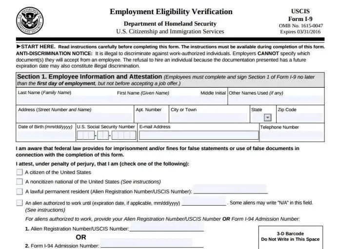 Form I 9 Employee Or Independent Contractor