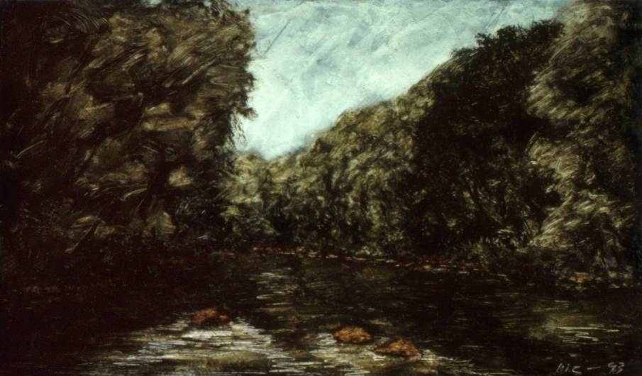 The Little Juniata, oil on panel, 6 X10, 1993, private collection
