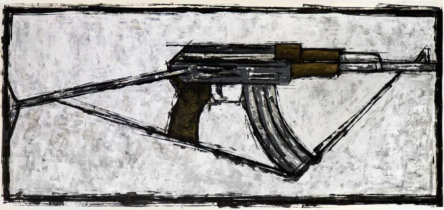 AK47, acrylic and latex on paper, 16 X 40 on paper, 1989