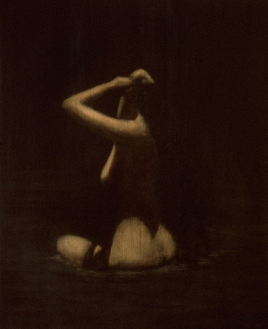 """Bather, oil and beeswax on canvas, 24\"""" x 20\"""". 1990"""