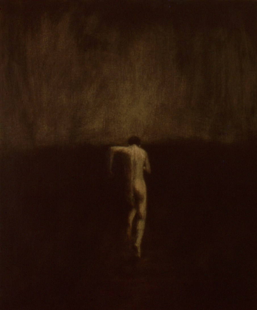 """The Running Man, oil and beeswax on canvas, 24\"""" x 20\"""". 1990. Private collection"""