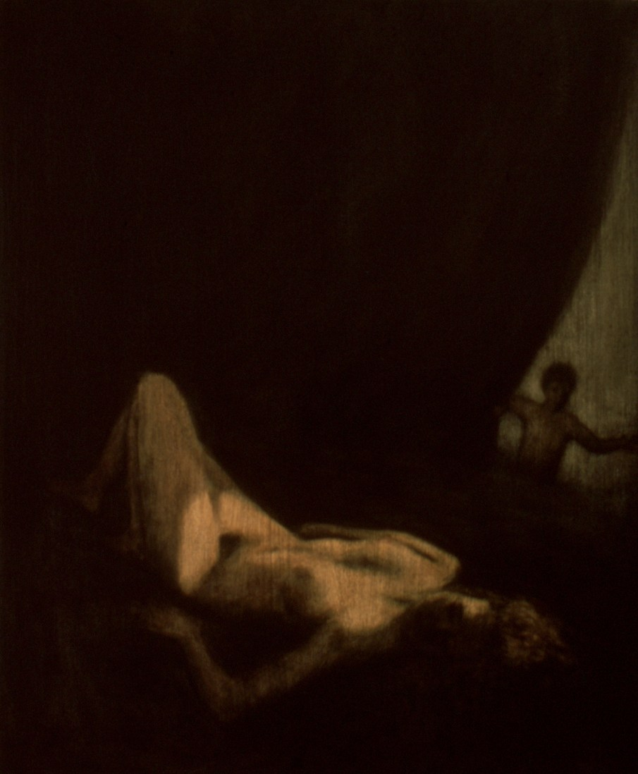 """The Shower of Gold, oil and beeswax on canvas, 24\"""" x 20\"""". 1990"""
