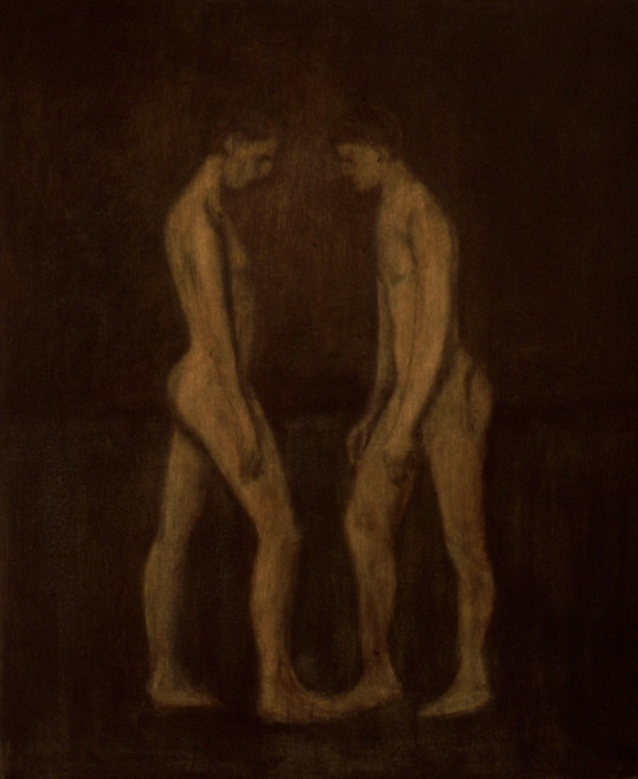 """The Wrestlers, oil and beeswax on canvas, 24\"""" x 20\"""". 1990. Private collection"""