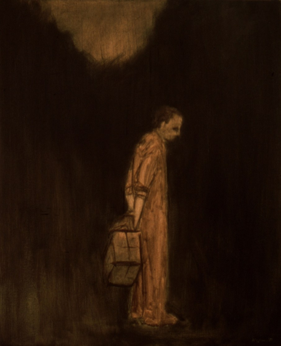 """Waiting, oil and beeswax on canvas, 24\"""" x 20\"""". 1990"""