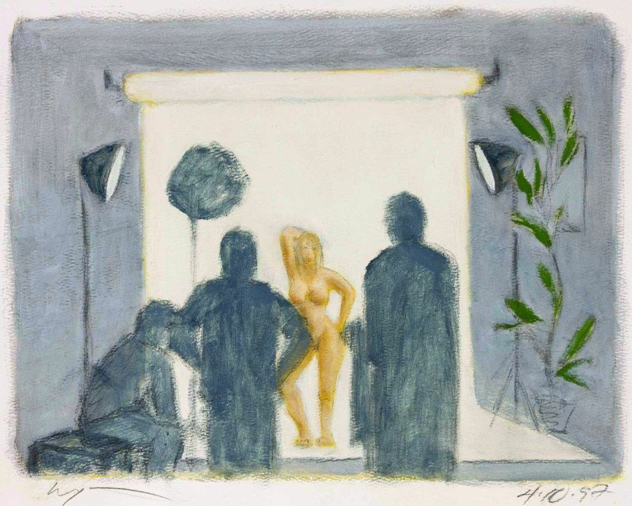 Studio Scene with Two Assistants, mixed media on paper, 12 X 15, 1997