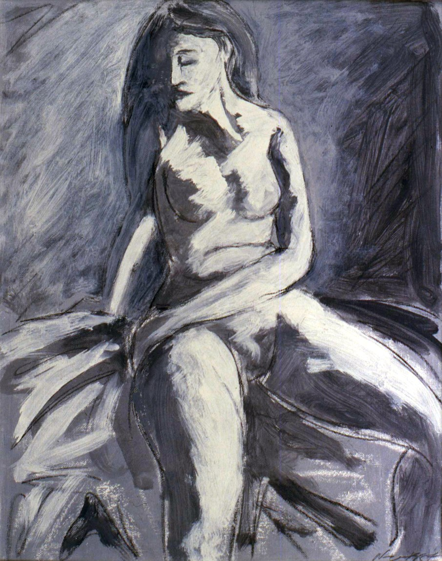 Seated Nude, acrylic on paper, 20 X 16, 1987