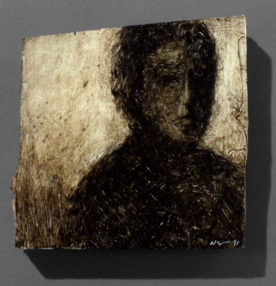 In Shadow, oil on wood, approx. 4 X 4, 1991, private collection