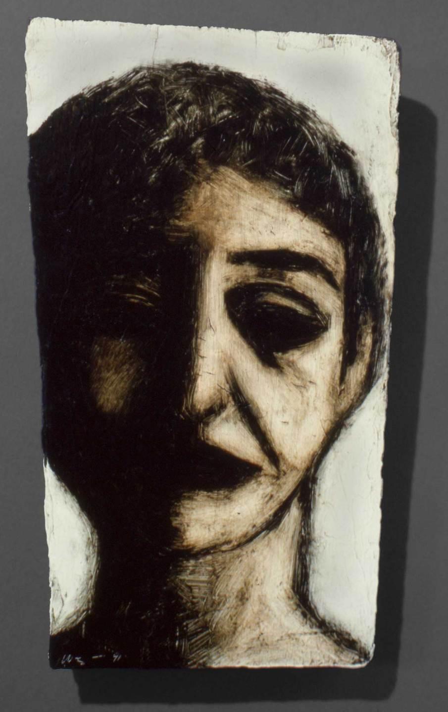 Face, oil on wood, 10 X 6, 1991
