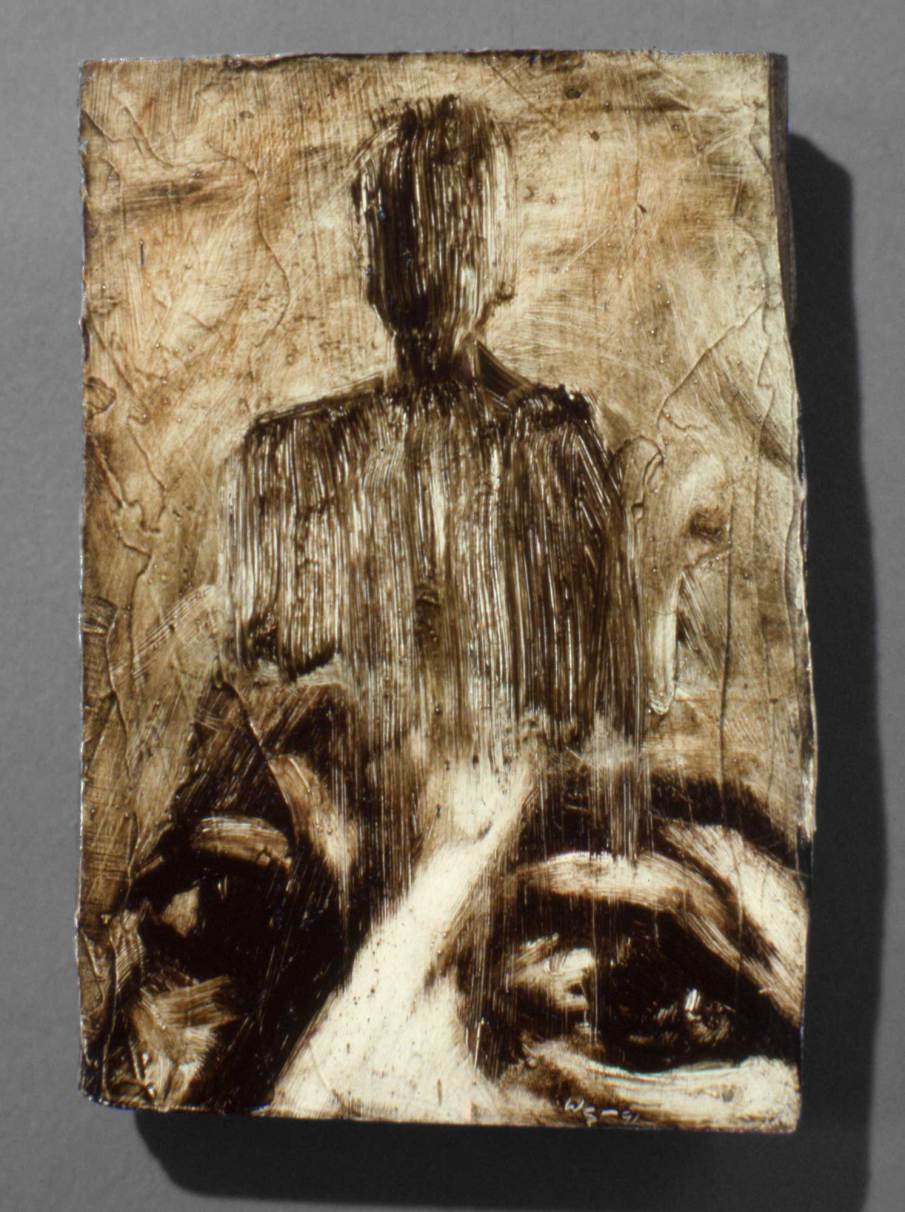 Face and Figure, oil on wood, 7 X 5, 1991, private collection