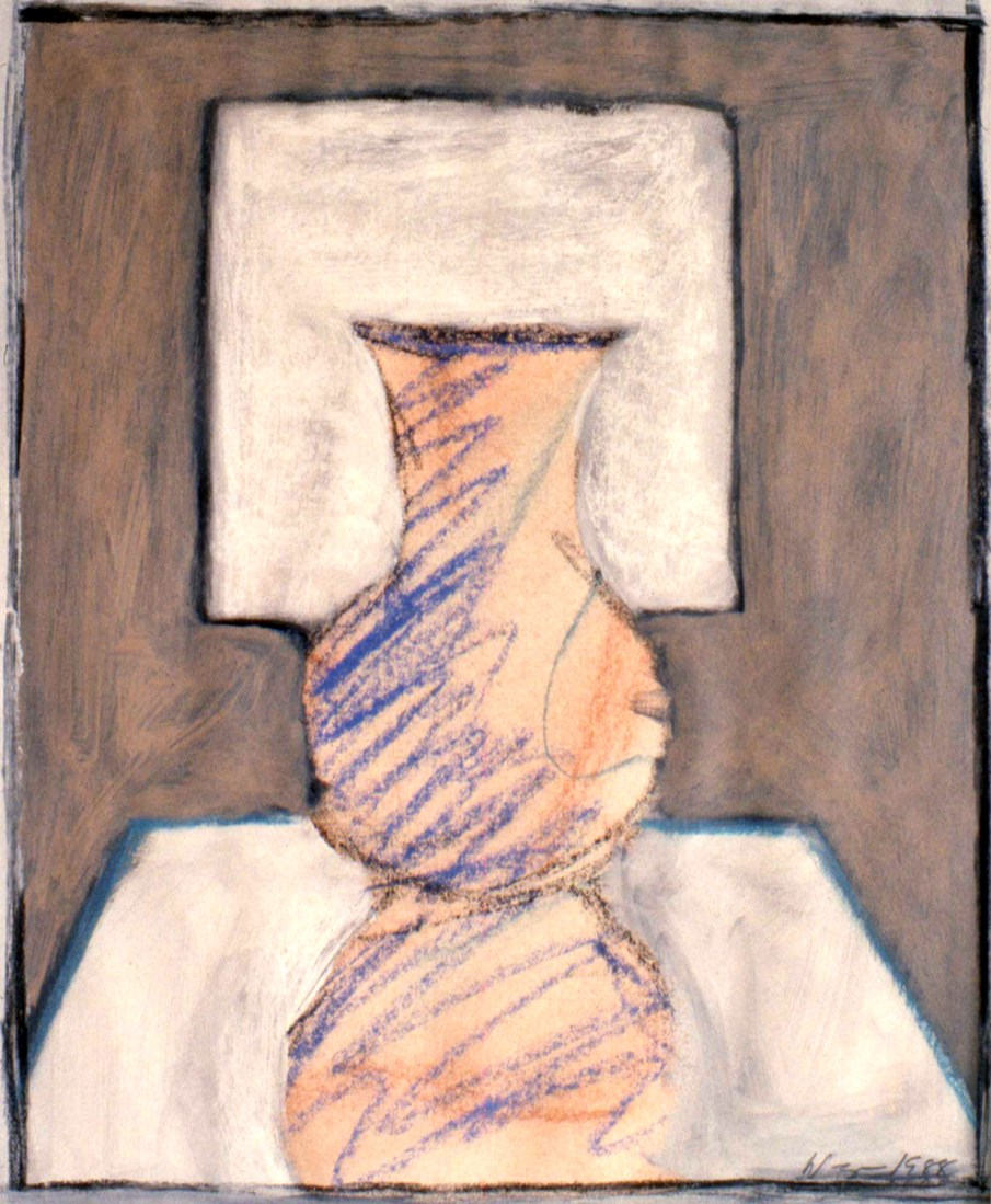 Vase, Table and Window No. 1, pastel and mixed media on paper, 24 X 20, 1988, private collection