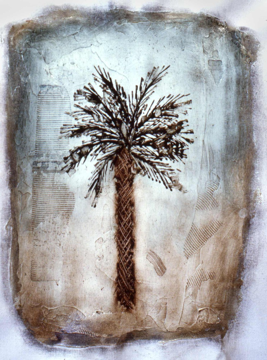 Palm Tree, oil on unstretched Canvas, 16 X 12, private collection