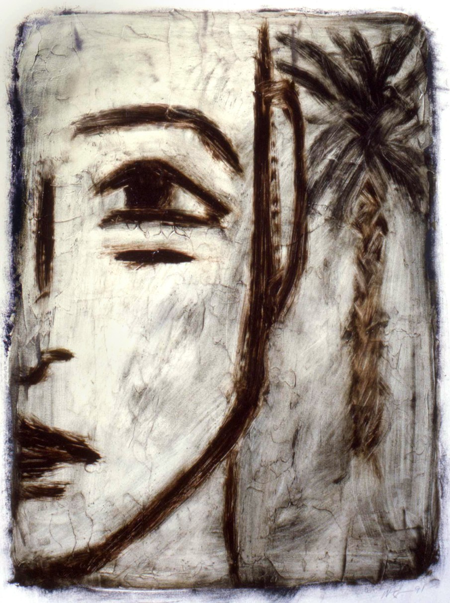 Man and Palm Tree, oil on paper, 30 X 22, 1991