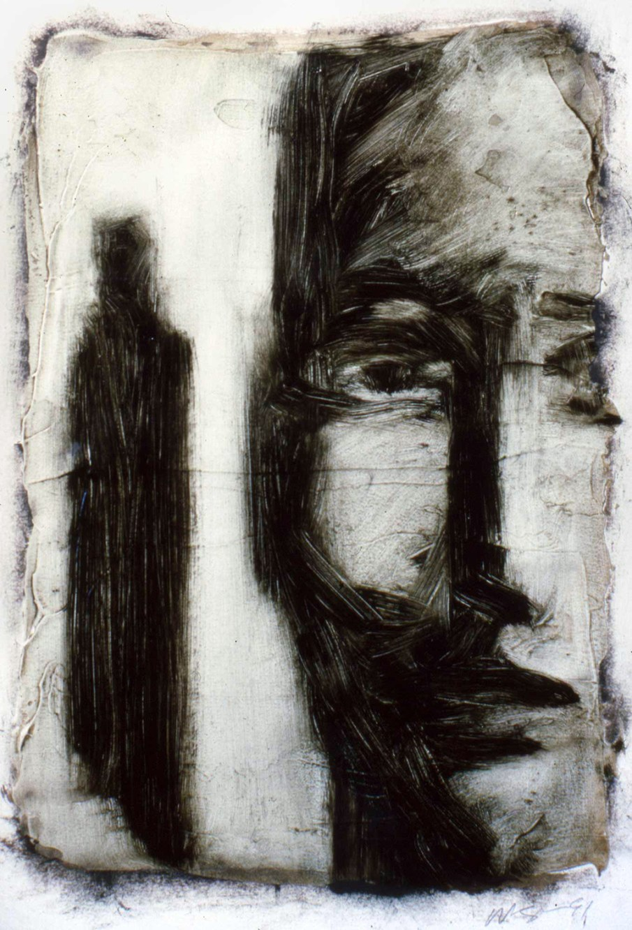 Face and Figure, oil on paper, 16 X 12, 1991