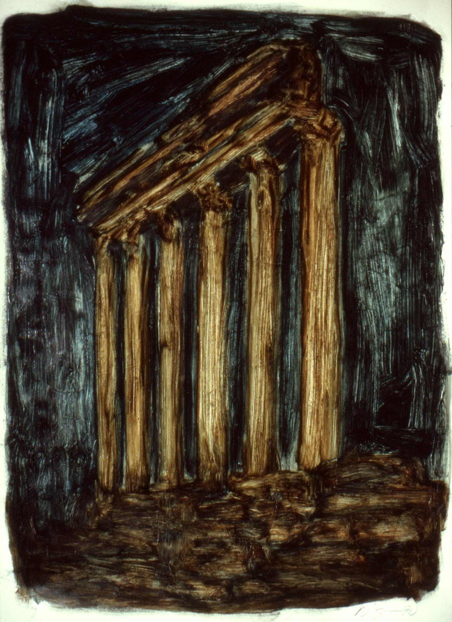 Temple, oil on paper, 30 X 22, 1991, private collection