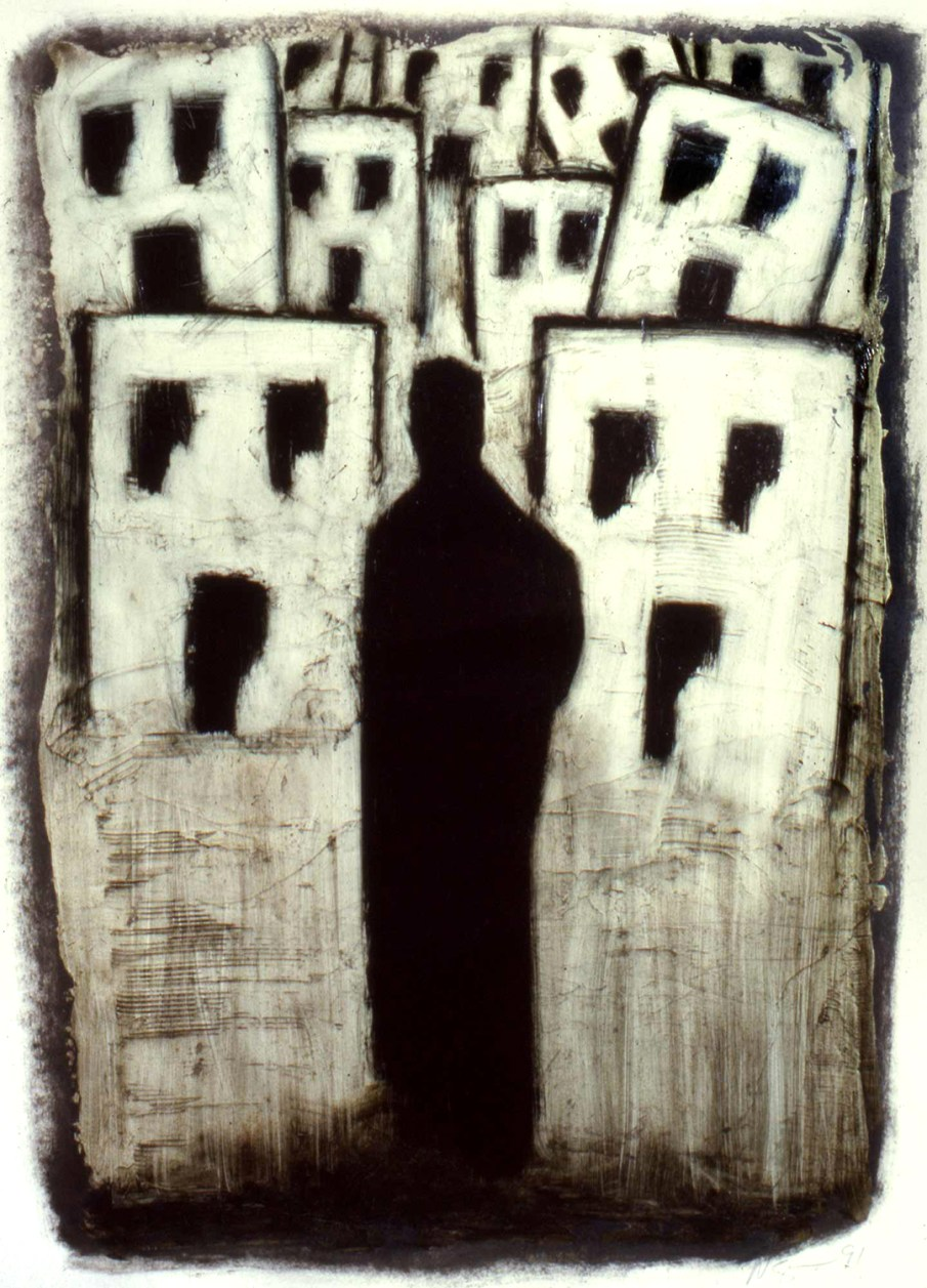 Figure and Town, oil on paper, 30 X 22, 1991, private collection