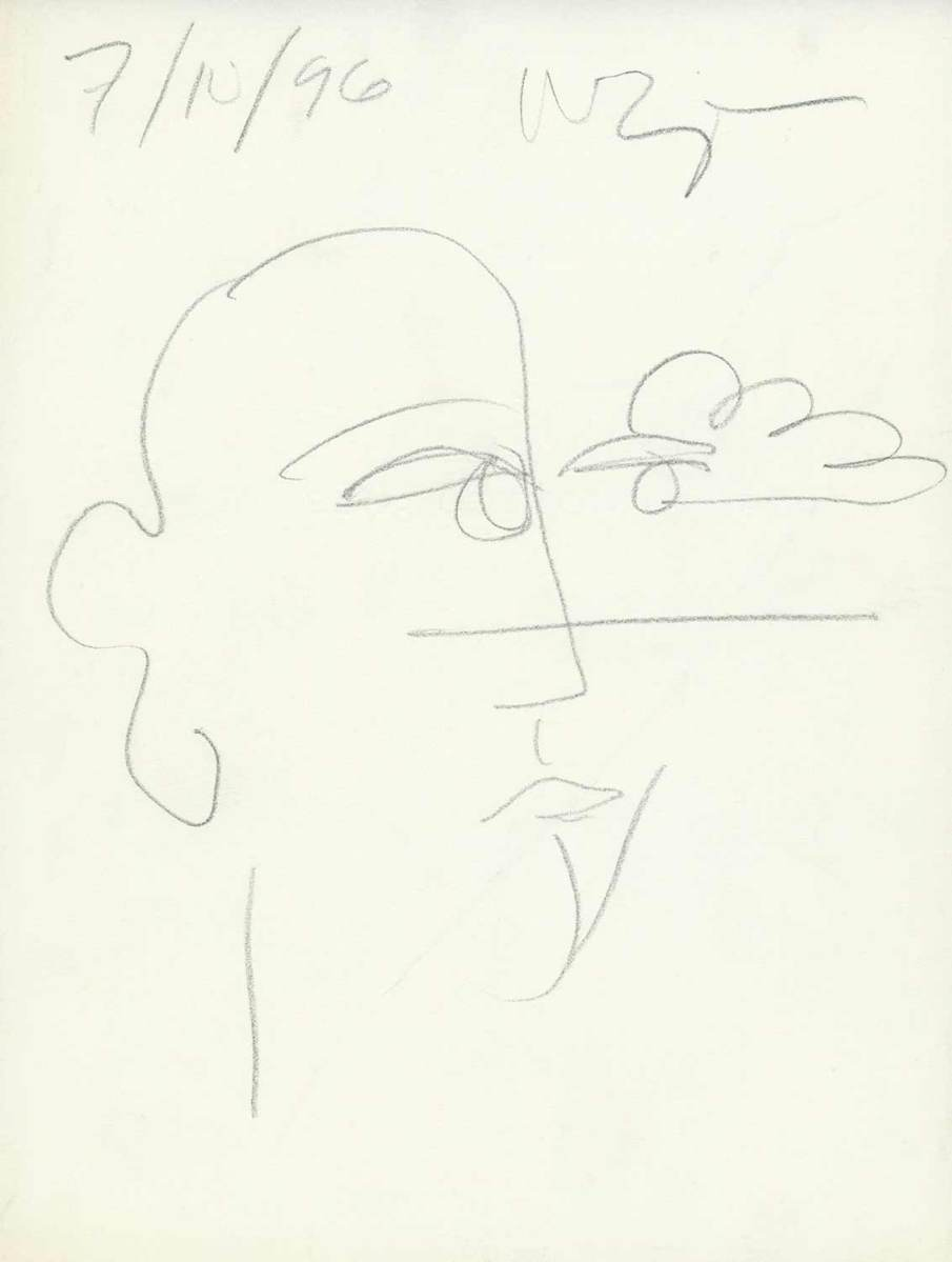 Face and Cloud, graphite on onionskin, 11 X 8, 1996