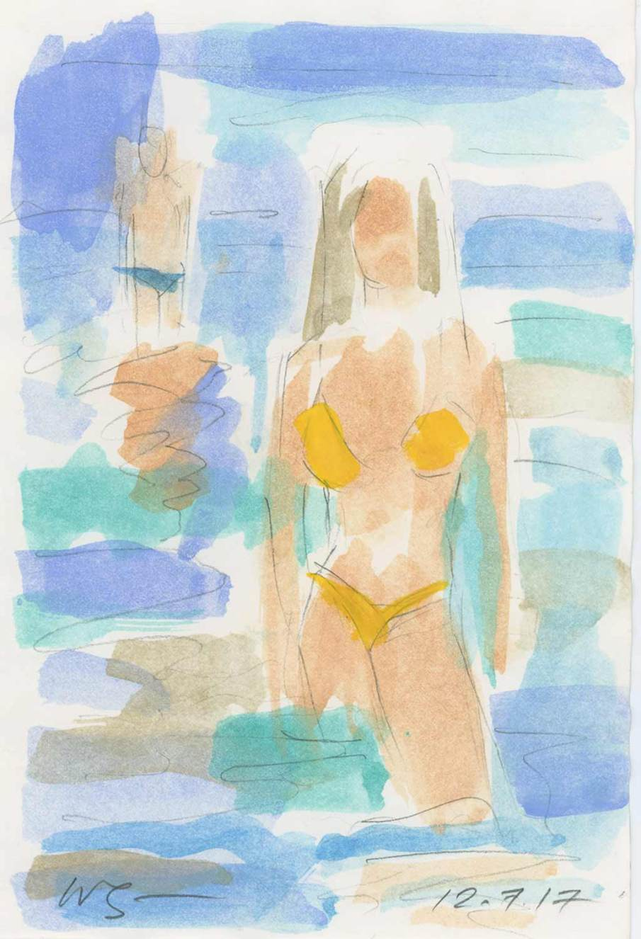 2 Bathers, watercolor on paper, 8 X 5.5, 2017