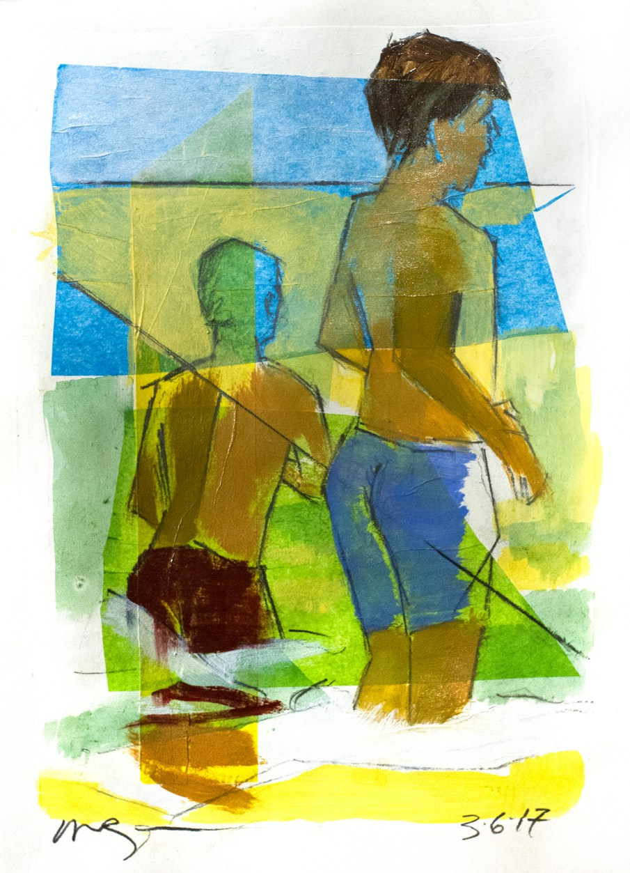 Two Boys, mixed media on paper, 10 X 8, 2017