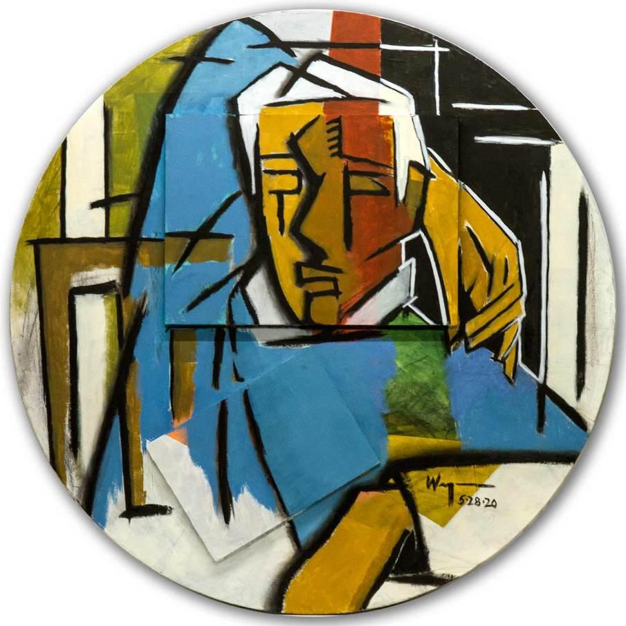 "Seated Man, mixed media on wood, 31\"" diameter, 2020"