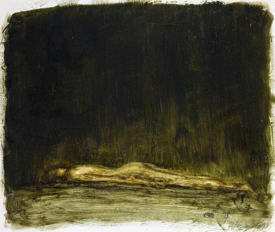 Prone Figure, oil on paper, 10 X 12, 1991