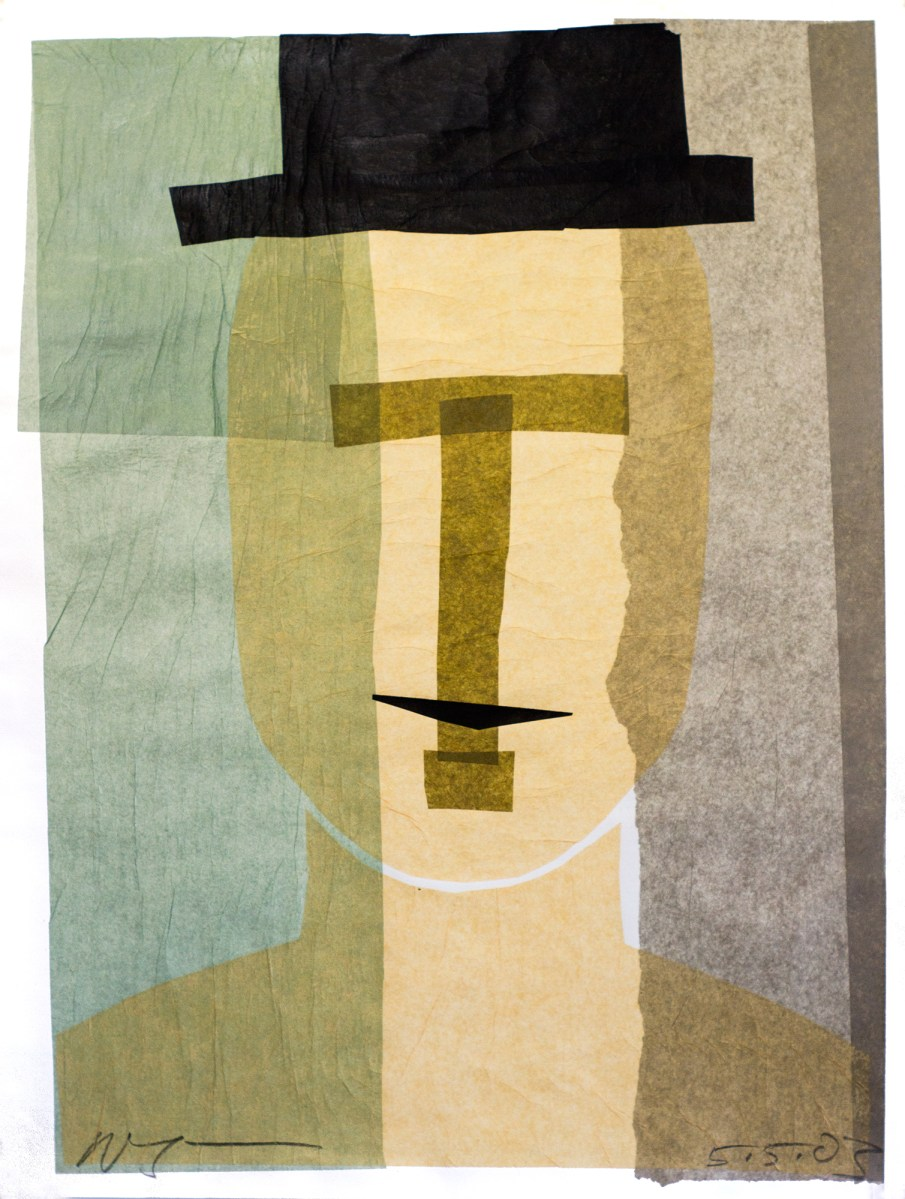 Man In A Black Hat, tissue paper on paper, 30 X 22, 2003, private collection