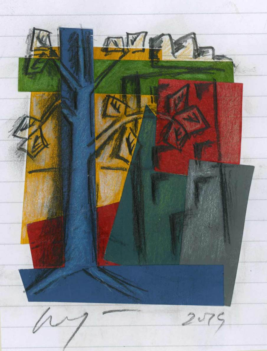 Building and Tree, mixed media on sketchbook page, 9 X 5, 2019