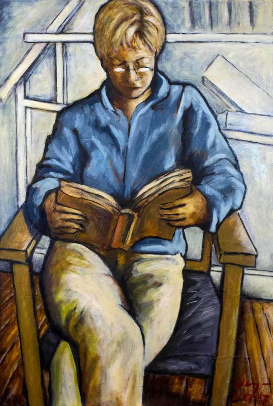 Reading, oil on canvas, 36 X 24, 2017, NFS