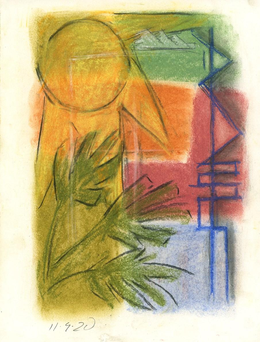 Sun,  mixed media on paper, 11 X 8.5, 2020