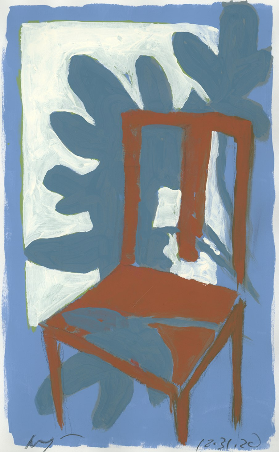 Red Chair and Plant, latex on paper, 14 X 20, 2020