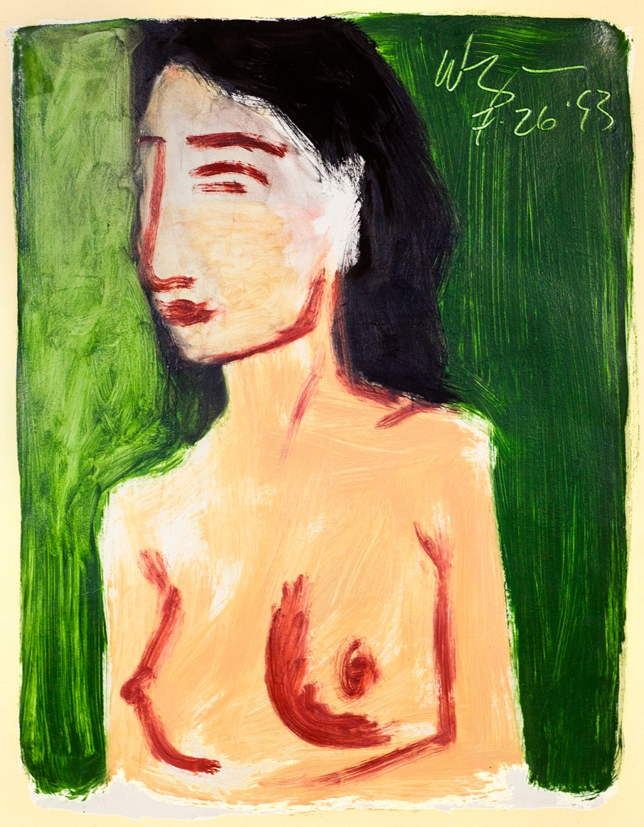 Nude on Green, oil on paper, 26 X 20, 1993