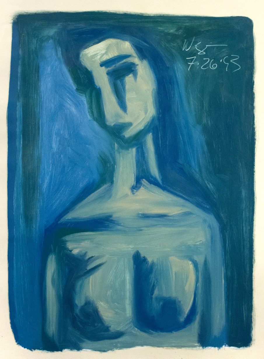 Blue Nude, oil on paper, 26 X 20, 1993