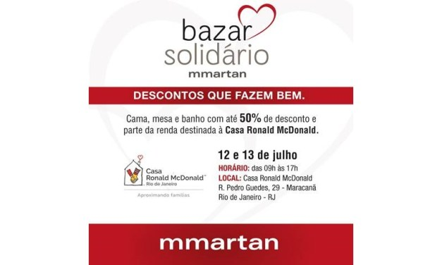 Loja mmartan promove bazar beneficente em prol da Casa Ronald McDonald-RJ