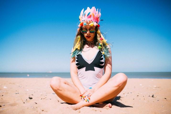 festival rainbow feather headpiece glittergalka