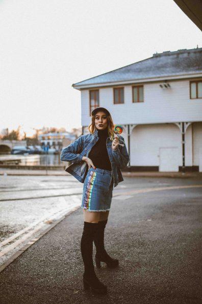 nasty gal rainbow denim skirt jacket-7