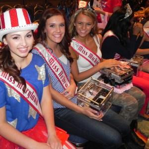 Miss Maryland Jr. Teen, Rachel Distefano, with Miss Nebraska and Miss Michigan at the Jr.Teen Patriotic Rehearsal