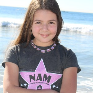 NAM wear on the beautiful beaches of California with your 2014 National American Miss New York Jr. Pre-Teen Queen Annaliese Arena!