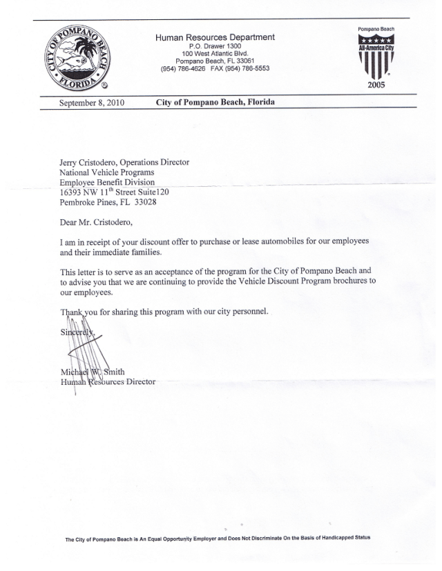 City of Pompano Beach Acceptance Letter