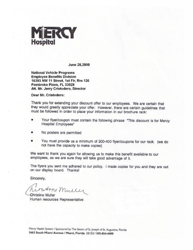 Mercy Hospital Acceptance Letter