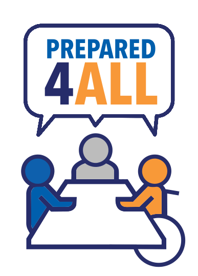 The Prepared4All logo shows three figures sitting around a table, one figure uses a wheelchair. Above the figures, a speech bubble shows all the figures saying Prepared4All