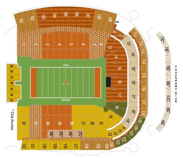 University Of Texas Football Stadium Seating Map