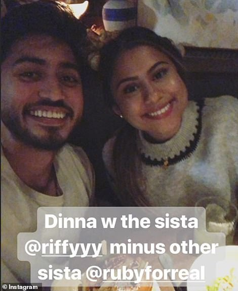 Fahim's sister, Rif, is pictured in this Instagram post