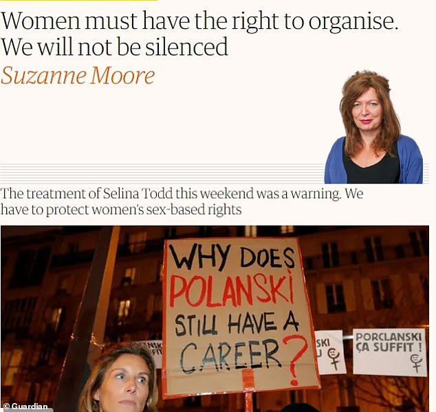 Ms Moore was at the centre of a storm in March after publishing this column: 'Women must have the right to organise. We will not be silenced