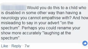 Critics of the show commented on Facebook